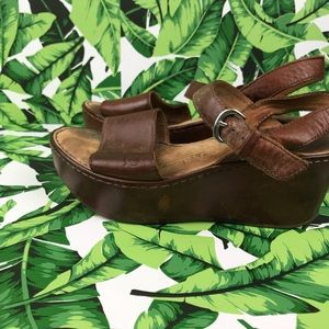 Born Shoes - 5 for $25 Born Brown Leather Flatform Wedges
